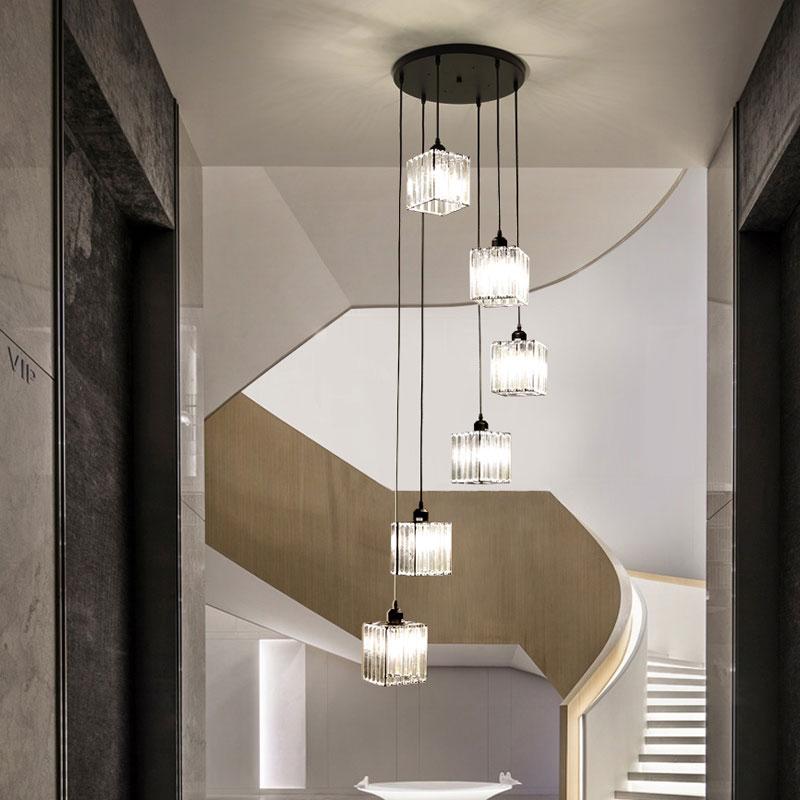 Bộ đèn thả bàn ăn thủy tinh thông tầng cầu thang