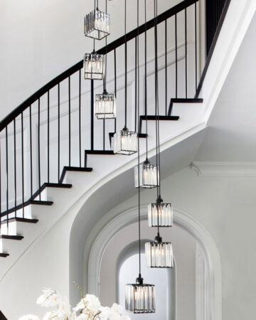 Bộ đèn thả pha lê thông tầng cầu thang, giếng trời 18909
