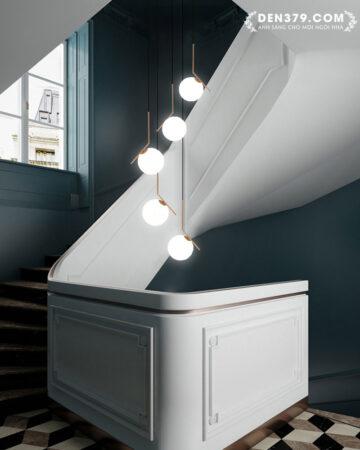 Bộ đèn thả bàn ăn thủy tinh thông tầng cầu thang VR20018