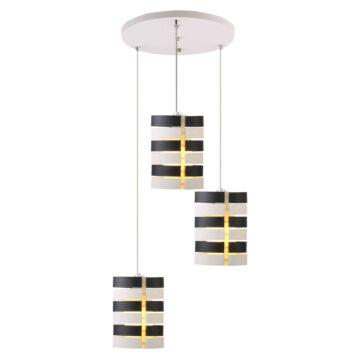 Đèn thả bàn ăn VR0978: bộ 3 bóng, chụp thủy tinh đen trắng