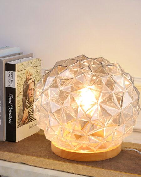 Đèn bàn, đèn ngủ thủy tinh đế gỗ VR4051