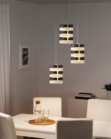 Đèn thả bàn ăn VR2344: bộ 3 bóng, chụp thủy tinh đen trắng