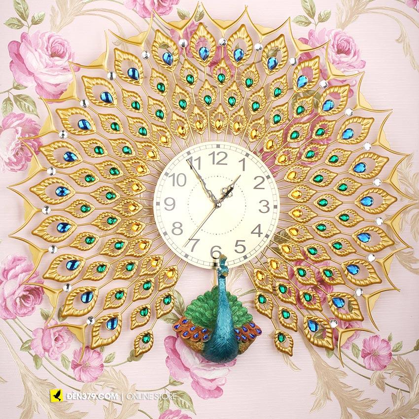 Đồng hồ trang trí gắn tường Chim khổng tước pha lê VIRGO VO-12