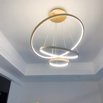 VIRGO V816G | Đèn thả LED 3 vòng xi vàng cao cấp | 3 Chế độ sáng | 63W