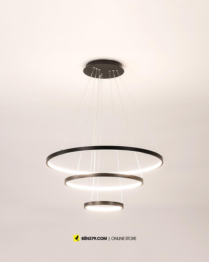 VIRGO V816B | Đèn thả LED 3 vòng màu đen | 3 chế độ sáng | 63W