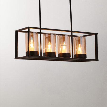 Đèn thả trang trí công nghiệp C2002 | Khung sắt 4 bóng