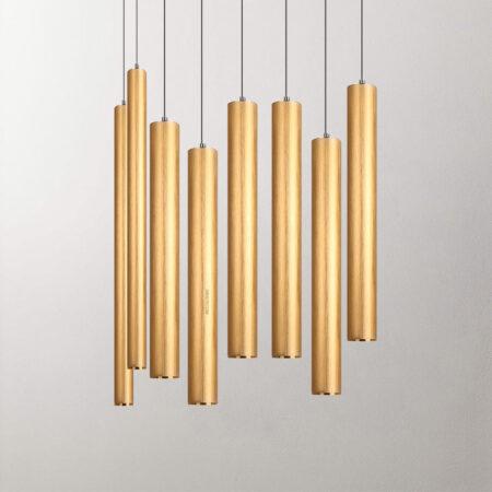 Đèn thả hiện đại C2003 | Ống bơ xi vàng cao cấp