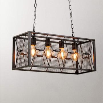 Đèn thả trang trí công nghiệp C2006 | lồng sắt 4 bóng