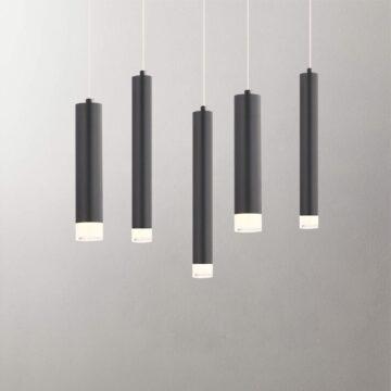 Đèn thả LED trang trí ống kim loại màu đen D3069