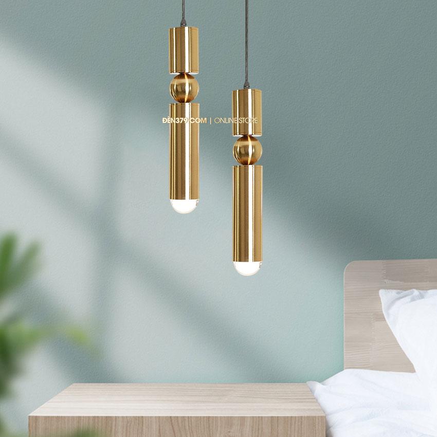 Đèn thả LED trang trí ống kim loại mạ vàng cao cấp D3122