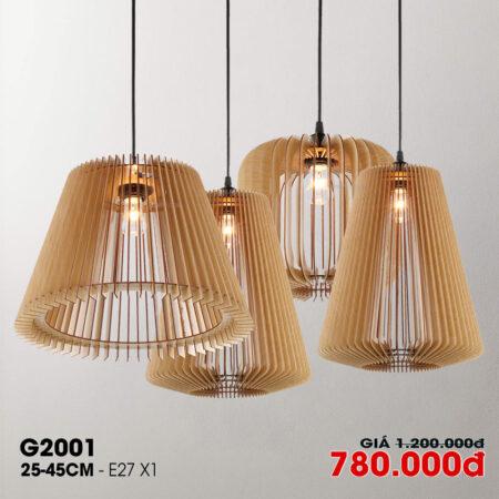 Đèn thả trang trí gỗ thủ công G2001