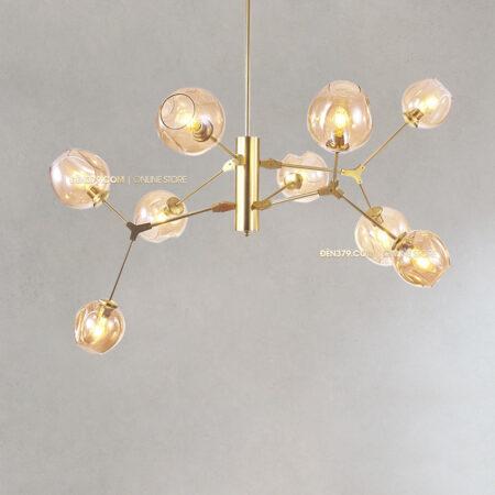 Đèn thả trang trí thủy tinh thân vàng S235