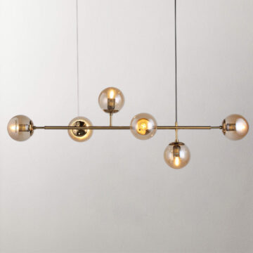 Đèn thả trang trí T2010 | Chao thủy tinh 6 bóng