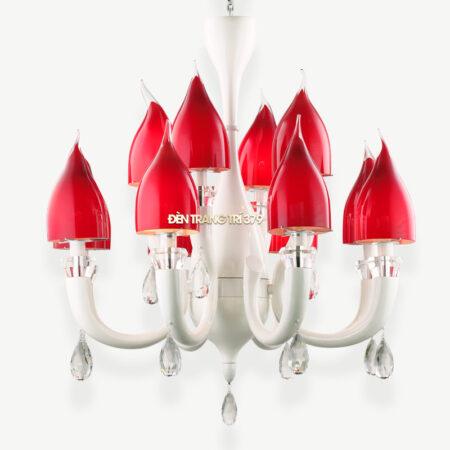 VIRGO V93604 | Đèn chùm 12 tay Hoa tu líp đỏ | Trang trí phòng khách cao cấp