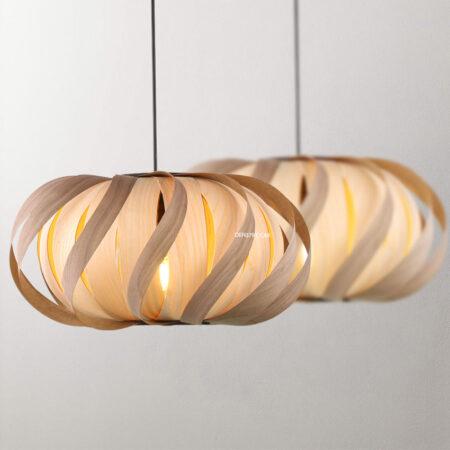 Đèn thả trang trí lá gỗ D2030
