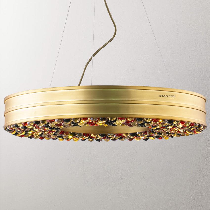 Đèn thả bàn ăn khung đồng hạt pha lê nhiều màu D3043