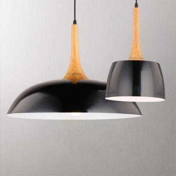 Đèn thả trang trí chụp hợp kim chuôi gỗ cao cấp D3056