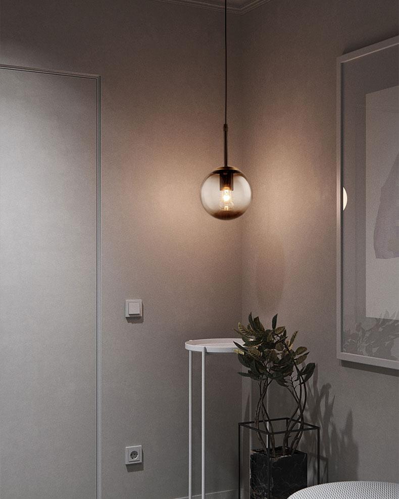 Đèn thả trang trí thủy tinh đen 15cm D272
