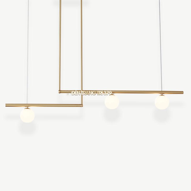 Đèn thả trang trí bàn ăn khung xi vàng 3 bóng D3120