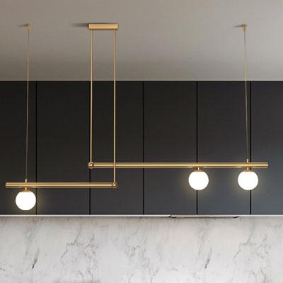 Đèn thả khung hợp kim vàng 3 bóng hiện đại D3176