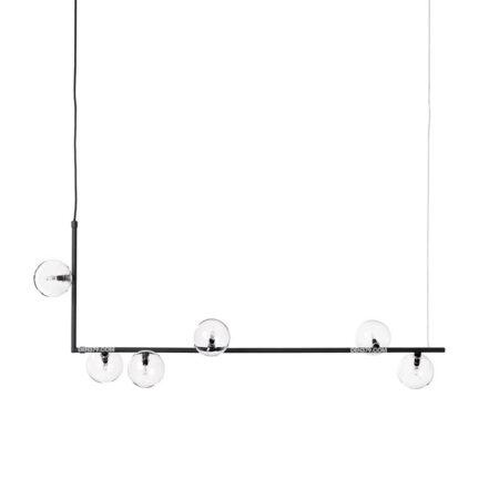 Đèn thả trang trí bàn ăn thân đen chao thủy tinh trong D3140