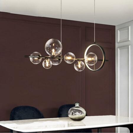 Đèn thả trang trí bàn ăn thân đen chao thủy tinh trong D3142