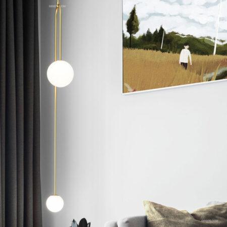 Đèn thả trang trí thân vàng 2 bóng hiện đại D3146
