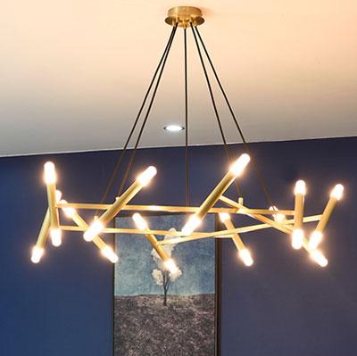 Đèn chùm trang trí ống trúc 16 bóng D3152