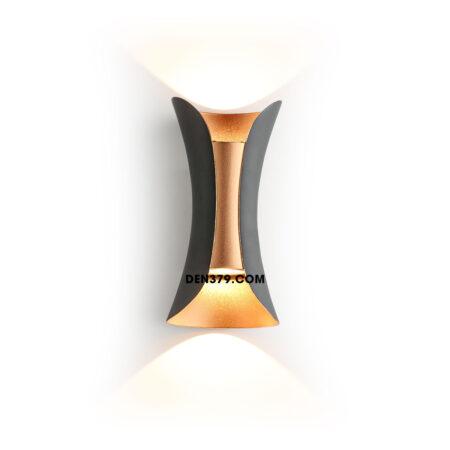 Đèn hắt tường 2 đầu trang trí ngoài đen trong vàng Q309