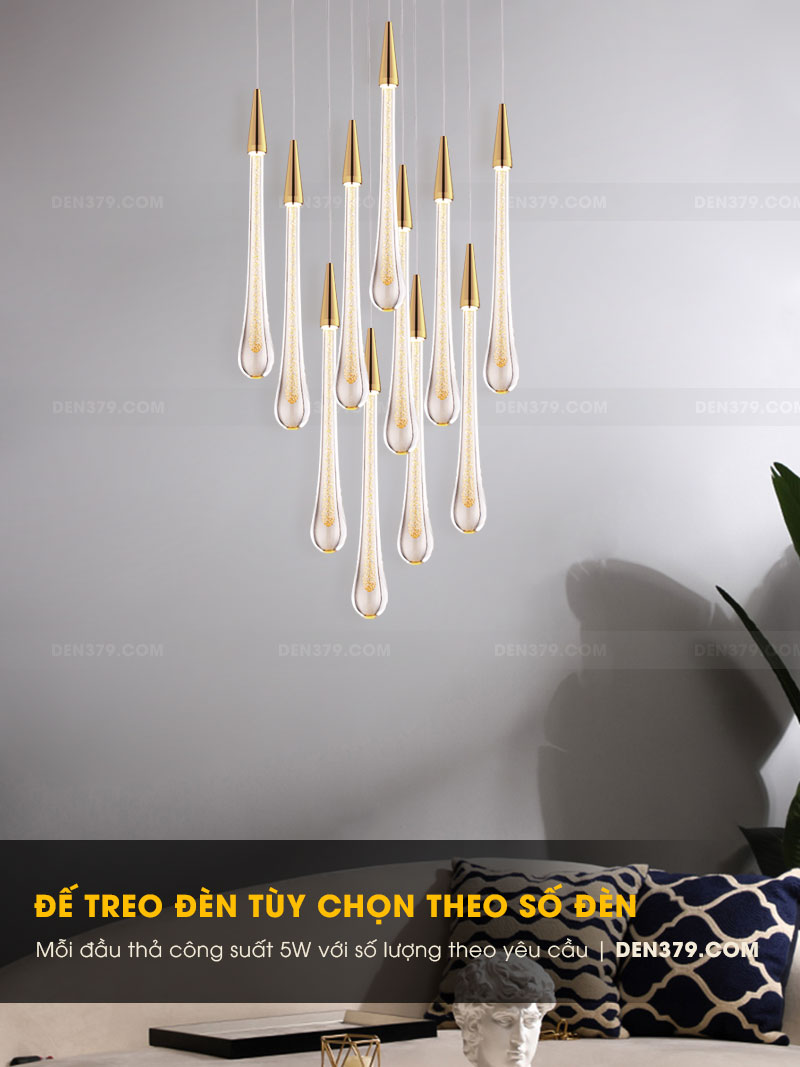 Đèn thả trang trí giọt nước pha lê cao cấp D3202