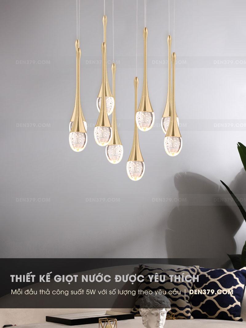Đèn thả trang trí giọt nước pha lê cao cấp D3203