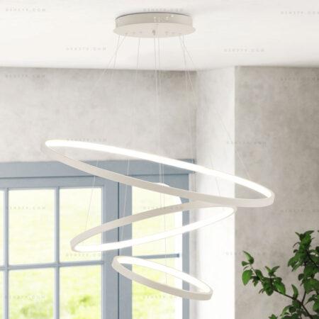 Đèn thả LED 3 vòng hiện đại màu trắng D816W