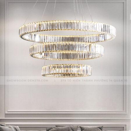 Đèn thả trang trí vòng tròn pha lê cao cấp DH8075