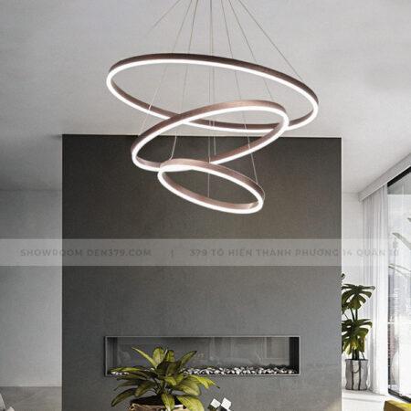 Đèn thả LED trang trí 3 vòng tròn màu càfe DK7051
